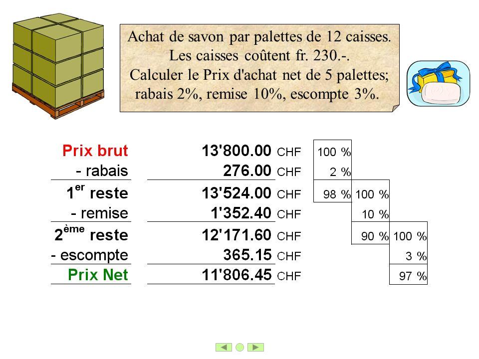 Achat de savon par palettes de 12 caisses. Les caisses coûtent fr. 230.-. Calculer le Prix d'achat net de 5 palettes; rabais 2%, remise 10%, escompte