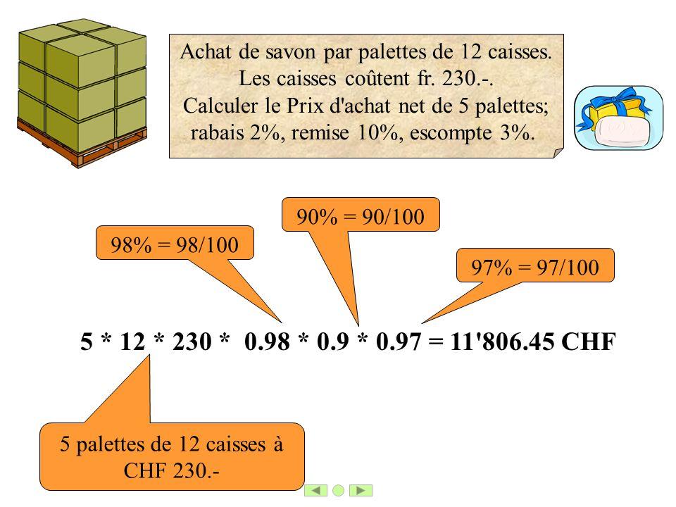 5 * 12 * 230 * 0.98 * 0.9 * 0.97 = 11'806.45 CHF 98% = 98/100 90% = 90/100 97% = 97/100 5 palettes de 12 caisses à CHF 230.- Achat de savon par palett