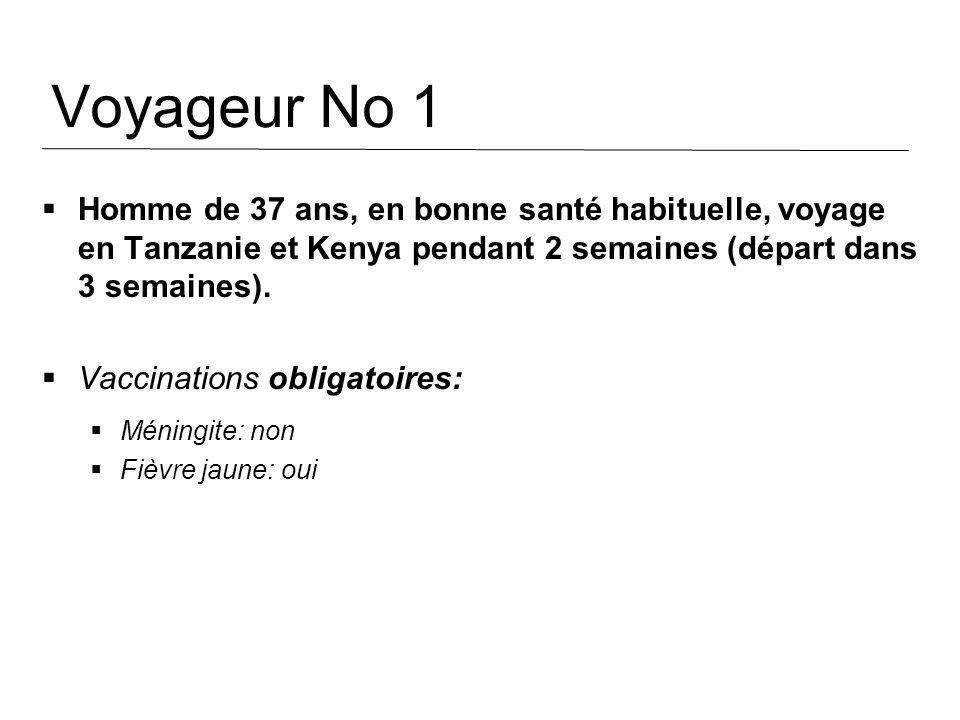 Voyageur No 1 Homme de 37 ans, en bonne santé habituelle, voyage en Tanzanie et Kenya pendant 2 semaines (départ dans 3 semaines). Vaccinations obliga
