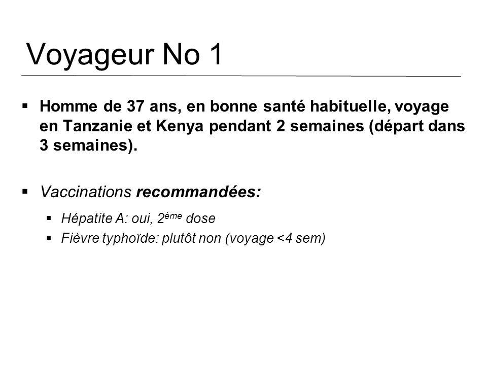 Voyageur No 1 Homme de 37 ans, en bonne santé habituelle, voyage en Tanzanie et Kenya pendant 2 semaines (départ dans 3 semaines). Vaccinations recomm