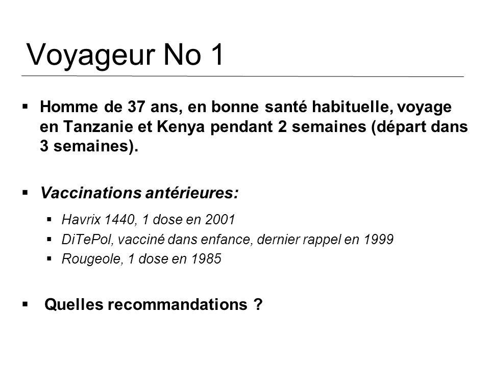 Voyageur No 1 Homme de 37 ans, en bonne santé habituelle, voyage en Tanzanie et Kenya pendant 2 semaines (départ dans 3 semaines). Vaccinations antéri