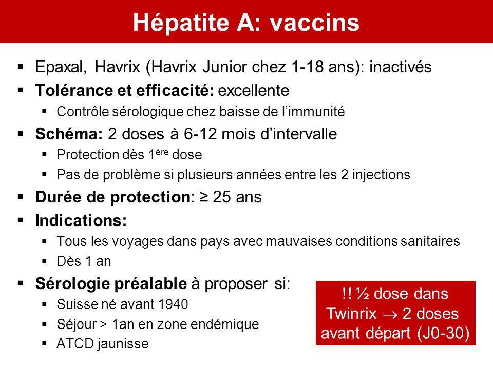 Hépatite A: vaccins Epaxal, Havrix (Havrix Junior chez 1-18 ans): inactivés Tolérance et efficacité: excellente Contrôle sérologique chez baisse de li