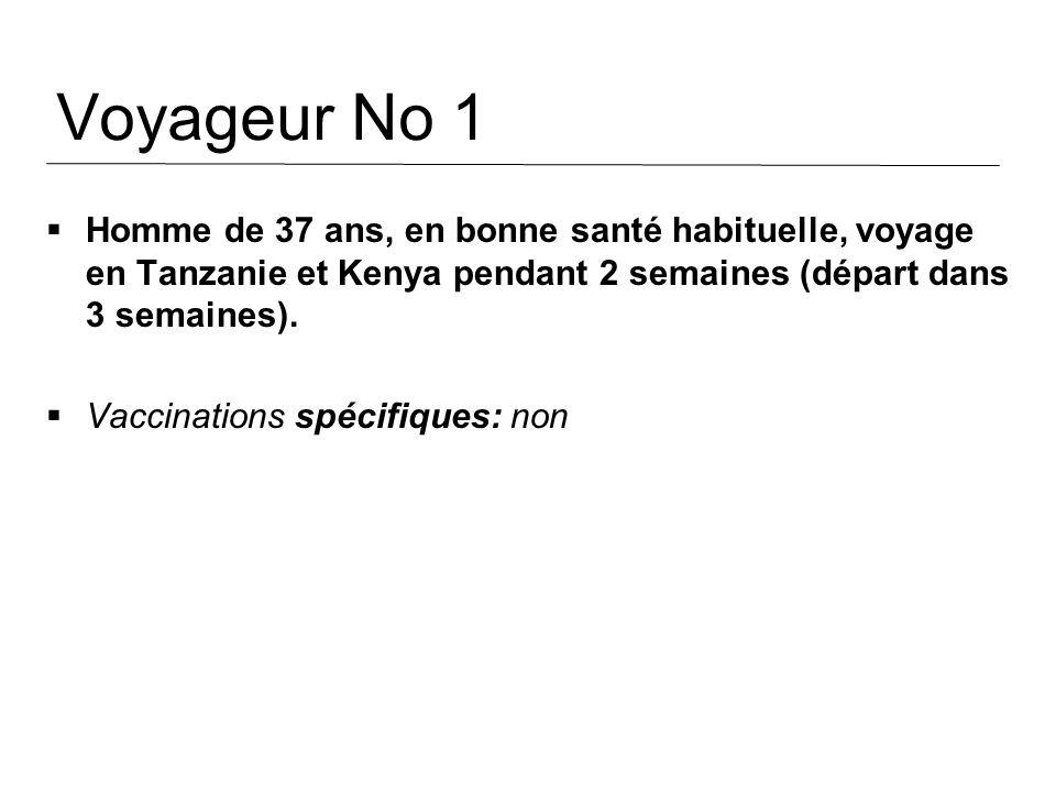 Voyageur No 1 Homme de 37 ans, en bonne santé habituelle, voyage en Tanzanie et Kenya pendant 2 semaines (départ dans 3 semaines). Vaccinations spécif