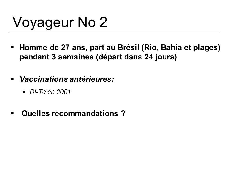Voyageur No 2 Homme de 27 ans, part au Brésil (Rio, Bahia et plages) pendant 3 semaines (départ dans 24 jours) Vaccinations antérieures: Di-Te en 2001