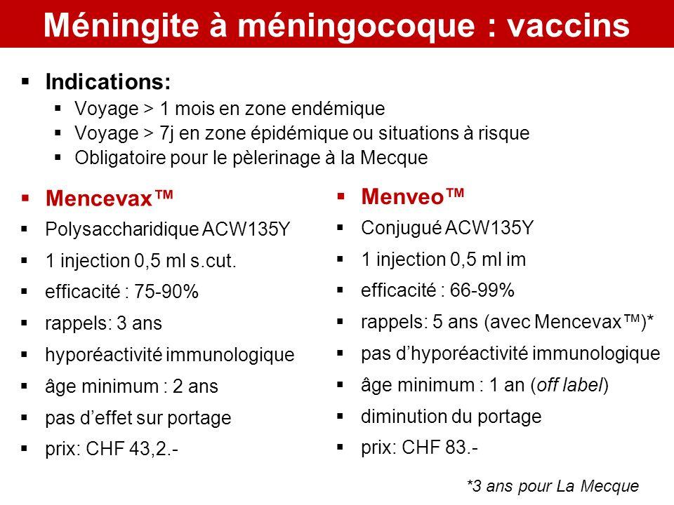 Méningite à méningocoque : vaccins Indications: Voyage > 1 mois en zone endémique Voyage > 7j en zone épidémique ou situations à risque Obligatoire po