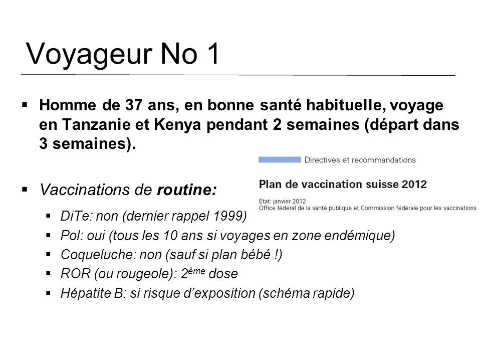 Voyageur No 1 Homme de 37 ans, en bonne santé habituelle, voyage en Tanzanie et Kenya pendant 2 semaines (départ dans 3 semaines). Vaccinations de rou