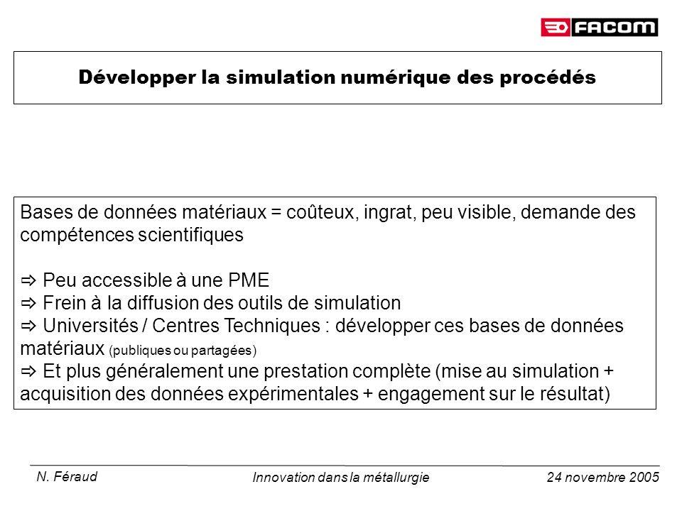 24 novembre 2005 N. Féraud Innovation dans la métallurgie Développer la simulation numérique des procédés Bases de données matériaux = coûteux, ingrat