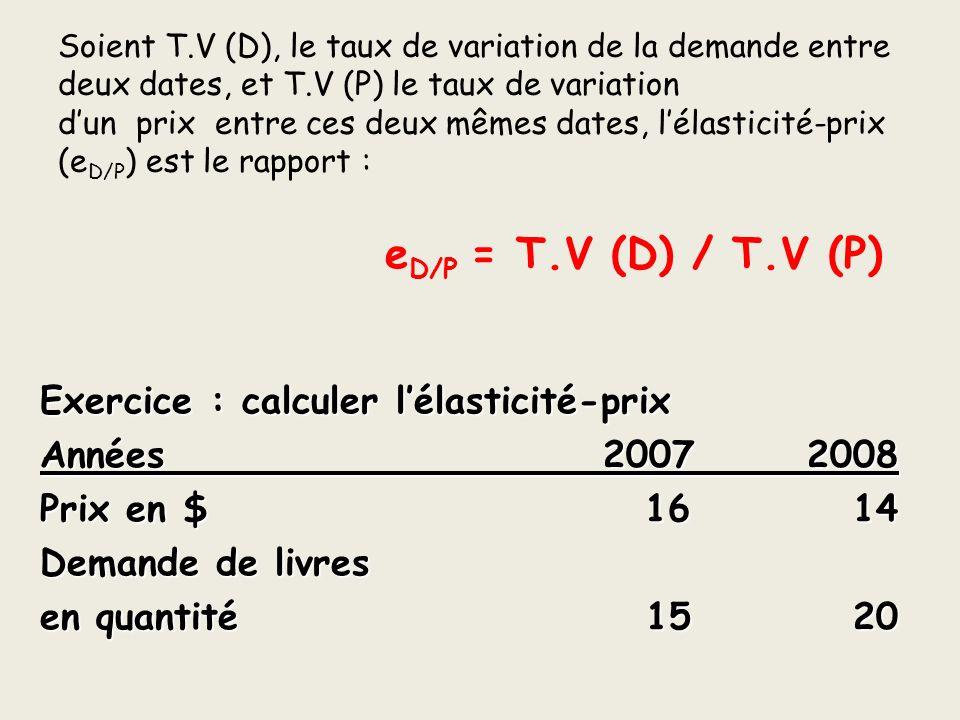 Soient T.V (D), le taux de variation de la demande entre deux dates, et T.V (P) le taux de variation dun prix entre ces deux mêmes dates, lélasticité-