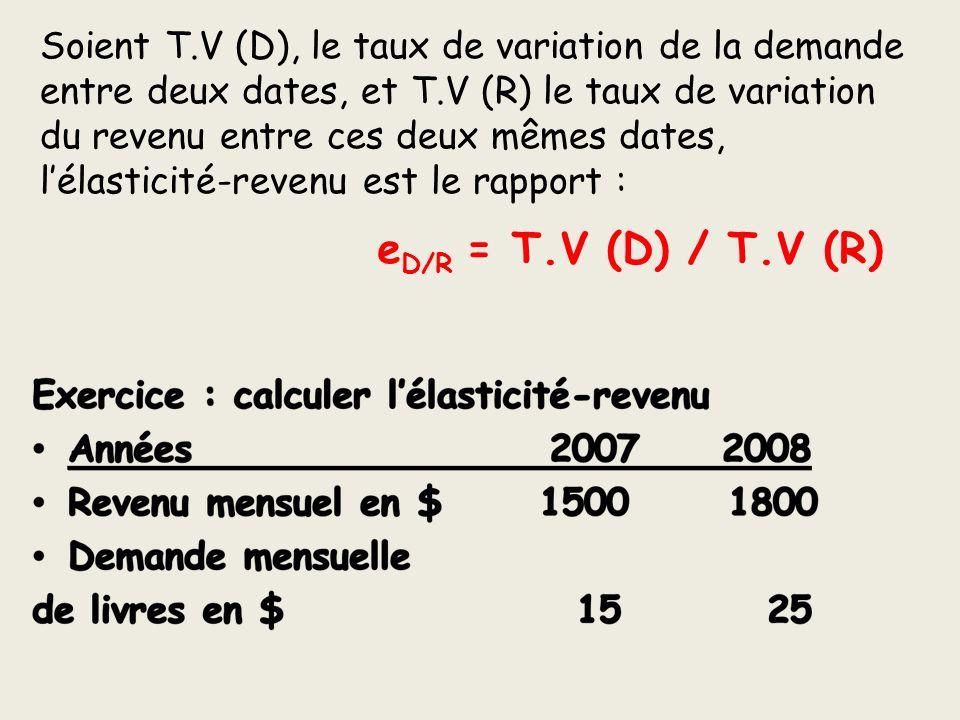 Soient T.V (D), le taux de variation de la demande entre deux dates, et T.V (R) le taux de variation du revenu entre ces deux mêmes dates, lélasticité