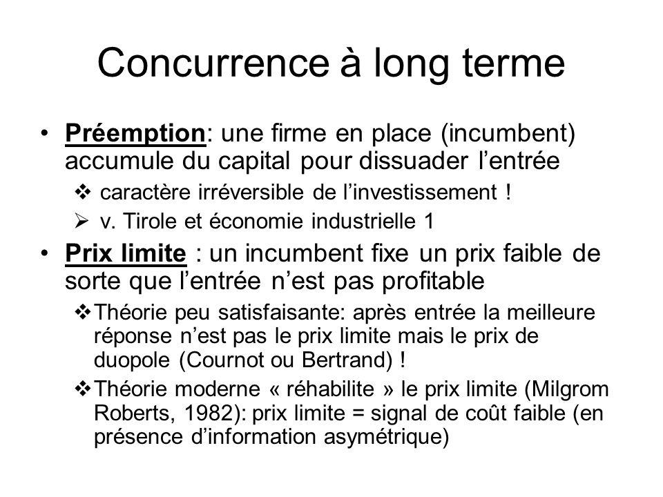 Concurrence à long terme Préemption: une firme en place (incumbent) accumule du capital pour dissuader lentrée caractère irréversible de linvestissement .