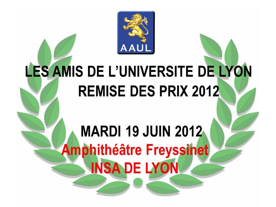 LES AMIS DE LUNIVERSITE DE LYON REMISE DES PRIX 2012 MARDI 19 JUIN 2012 Amphithéâtre Freyssinet INSA DE LYON