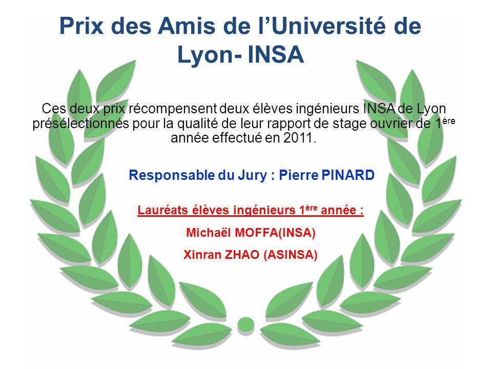 Ces deux prix récompensent deux élèves ingénieurs INSA de Lyon présélectionnés pour la qualité de leur rapport de stage ouvrier de 1 ère année effectu