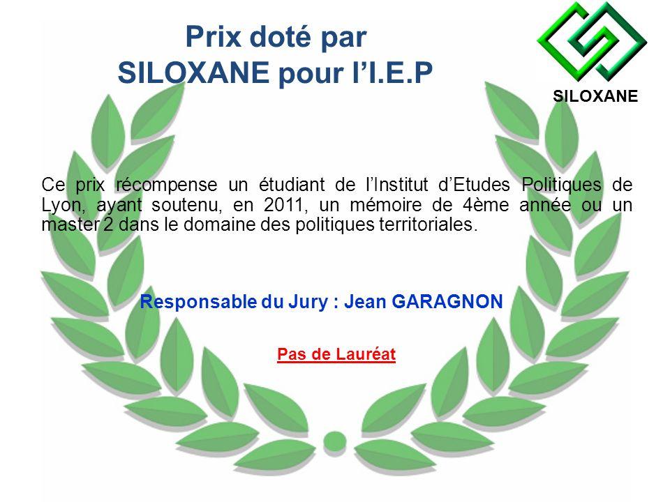 Prix doté par SILOXANE pour lI.E.P Ce prix récompense un étudiant de lInstitut dEtudes Politiques de Lyon, ayant soutenu, en 2011, un mémoire de 4ème