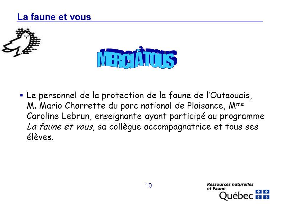 10 La faune et vous Le personnel de la protection de la faune de lOutaouais, M.