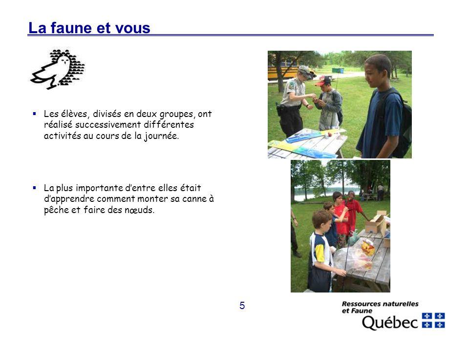 5 La faune et vous Les élèves, divisés en deux groupes, ont réalisé successivement différentes activités au cours de la journée.