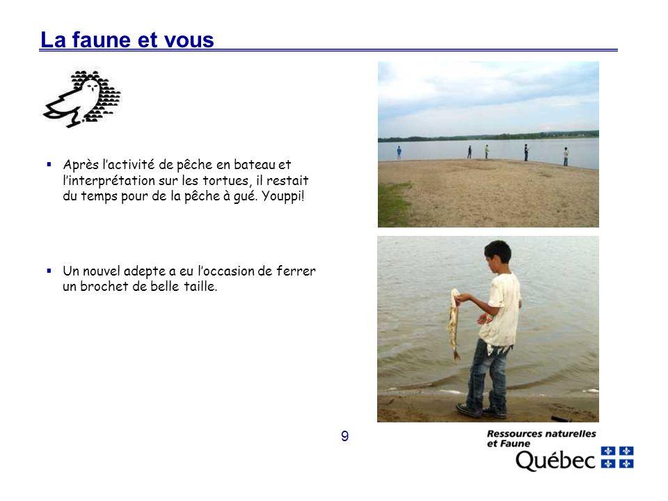 9 La faune et vous Après lactivité de pêche en bateau et linterprétation sur les tortues, il restait du temps pour de la pêche à gué.