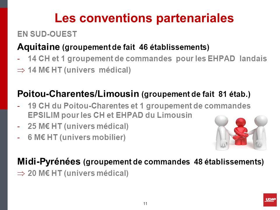 Les conventions partenariales EN SUD-OUEST Aquitaine (groupement de fait 46 établissements) -14 CH et 1 groupement de commandes pour les EHPAD landais