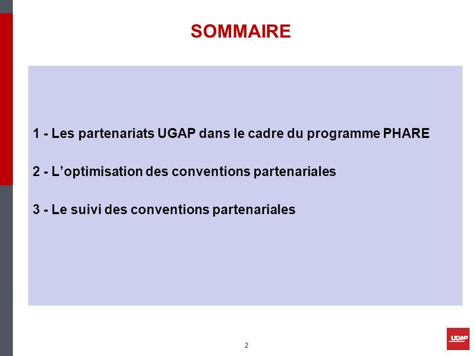 1 - Les partenariats UGAP dans le cadre du programme PHARE 2 - Loptimisation des conventions partenariales 3 - Le suivi des conventions partenariales