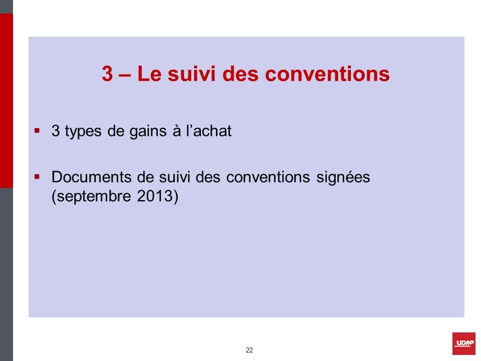 3 – Le suivi des conventions 3 types de gains à lachat Documents de suivi des conventions signées (septembre 2013) 22