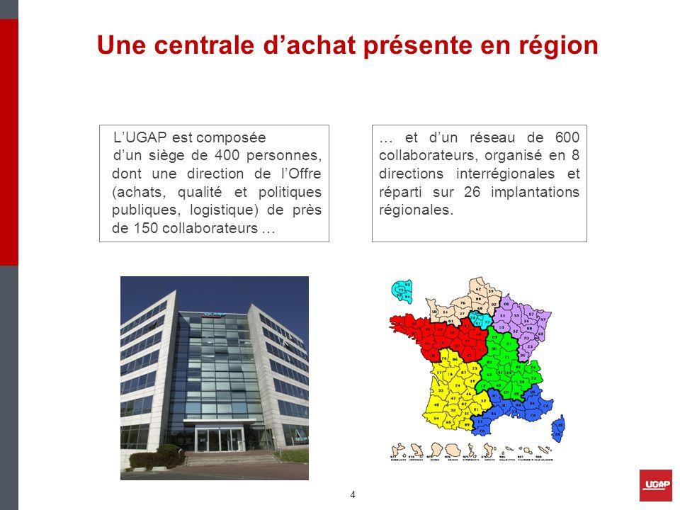 LUGAP est composée dun siège de 400 personnes, dont une direction de lOffre (achats, qualité et politiques publiques, logistique) de près de 150 colla
