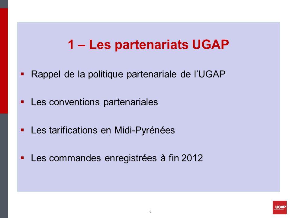 1 – Les partenariats UGAP Rappel de la politique partenariale de lUGAP Les conventions partenariales Les tarifications en Midi-Pyrénées Les commandes