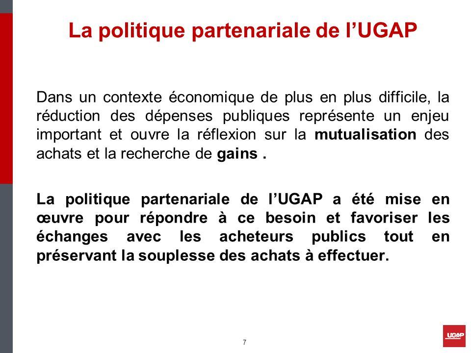 La politique partenariale de lUGAP Dans un contexte économique de plus en plus difficile, la réduction des dépenses publiques représente un enjeu impo