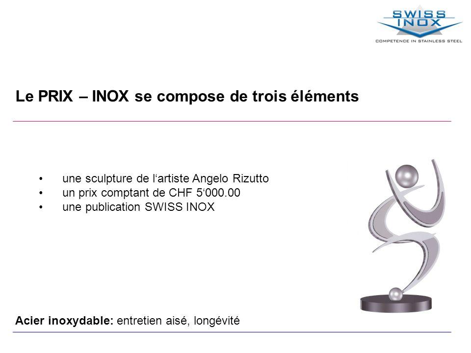 Le PRIX – INOX se compose de trois éléments une sculpture de lartiste Angelo Rizutto un prix comptant de CHF 5000.00 une publication SWISS INOX Acier inoxydable: entretien aisé, longévité