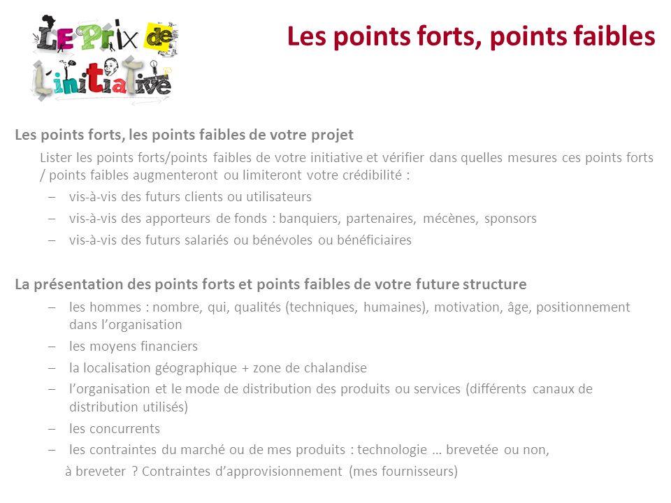 Les points forts, les points faibles de votre projet Lister les points forts/points faibles de votre initiative et vérifier dans quelles mesures ces p