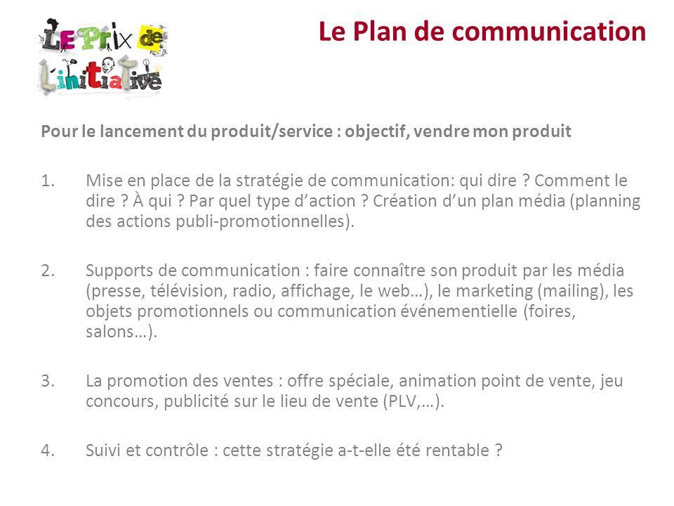 Pour le lancement du produit/service : objectif, vendre mon produit 1.Mise en place de la stratégie de communication: qui dire ? Comment le dire ? À q