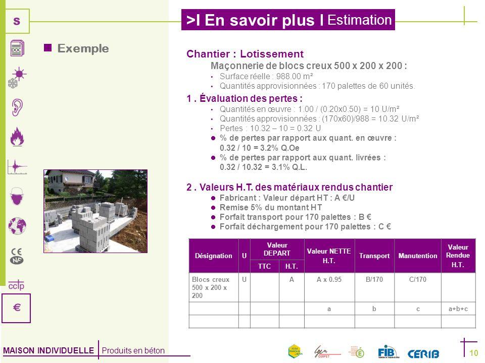 MAISON INDIVIDUELLE Produits en béton >I En savoir plus I Estimation 10 Exemple Chantier : Lotissement Maçonnerie de blocs creux 500 x 200 x 200 : Sur