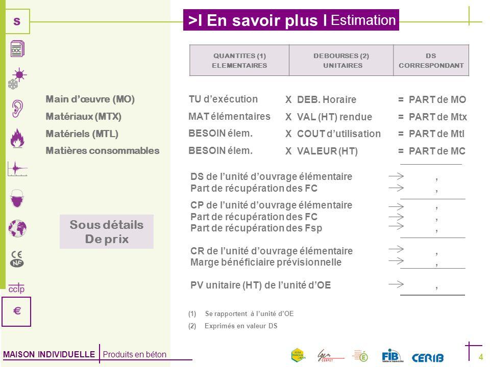 MAISON INDIVIDUELLE Produits en béton >I En savoir plus I Estimation 4 QUANTITES (1) ELEMENTAIRES DEBOURSES (2) UNITAIRES DS CORRESPONDANT DS de lunit