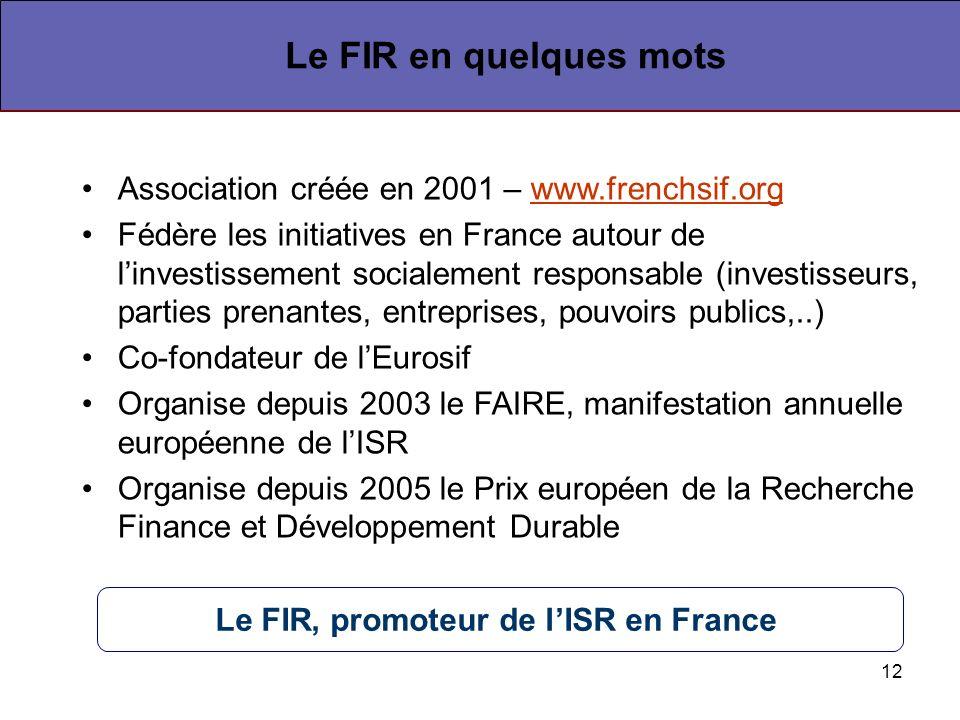12 Association créée en 2001 – www.frenchsif.orgwww.frenchsif.org Fédère les initiatives en France autour de linvestissement socialement responsable (investisseurs, parties prenantes, entreprises, pouvoirs publics,..) Co-fondateur de lEurosif Organise depuis 2003 le FAIRE, manifestation annuelle européenne de lISR Organise depuis 2005 le Prix européen de la Recherche Finance et Développement Durable Le FIR en quelques mots Le FIR, promoteur de lISR en France