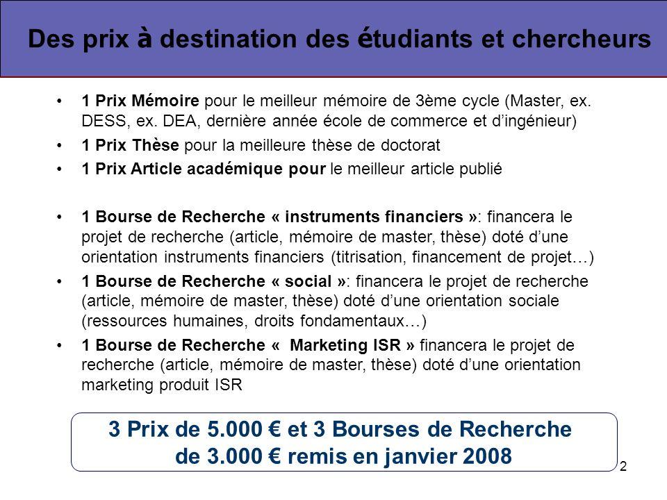 2 1 Prix Mémoire pour le meilleur mémoire de 3ème cycle (Master, ex.