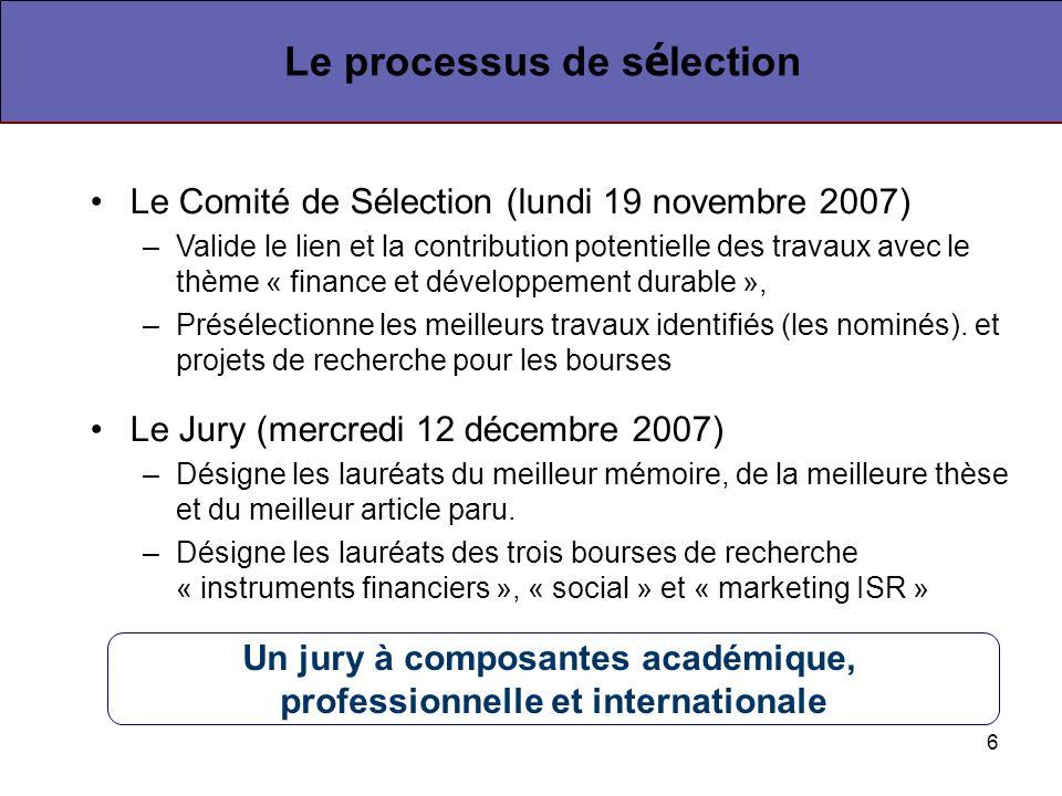 6 Le Comité de Sélection (lundi 19 novembre 2007) –Valide le lien et la contribution potentielle des travaux avec le thème « finance et développement durable », –Présélectionne les meilleurs travaux identifiés (les nominés).