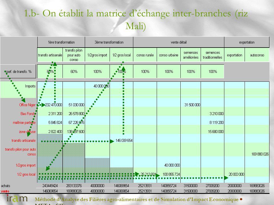 Méthode dAnalyse des Filières agro-alimentaires et de Simulation dImpact Economique METAφSIE 1.b- On établit la matrice déchange inter-branches (riz M