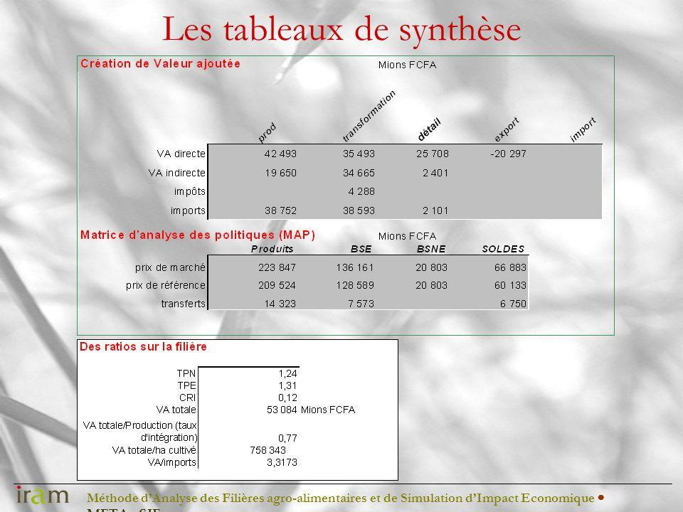 Méthode dAnalyse des Filières agro-alimentaires et de Simulation dImpact Economique METAφSIE Les tableaux de synthèse