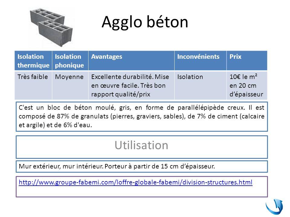Béton armé Isolation thermique Isolation phonique AvantagesInconvénientsPrix FaibleMoyenneExcellente durabilité.