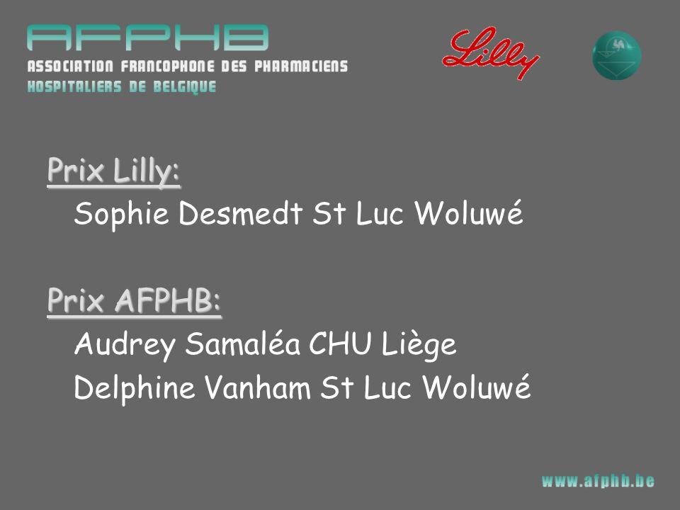 Prix Lilly: Sophie Desmedt St Luc Woluwé Prix AFPHB: Audrey Samaléa CHU Liège Delphine Vanham St Luc Woluwé