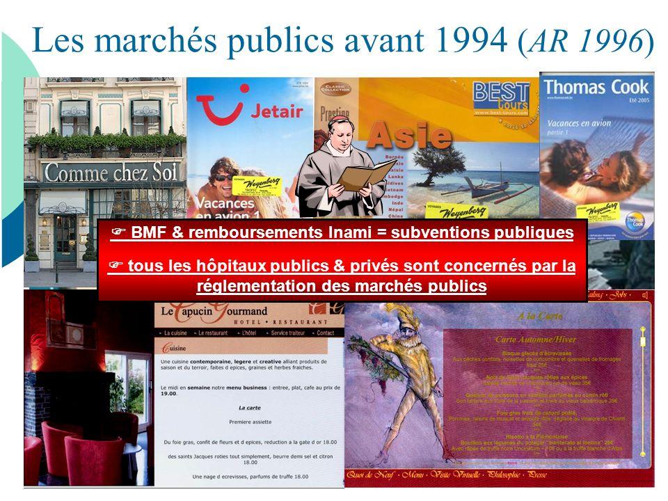 Les marchés publics avant 1994 (AR 1996) BMF & remboursements Inami = subventions publiques tous les hôpitaux publics & privés sont concernés par la r