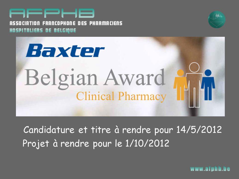 Candidature et titre à rendre pour 14/5/2012 Projet à rendre pour le 1/10/2012