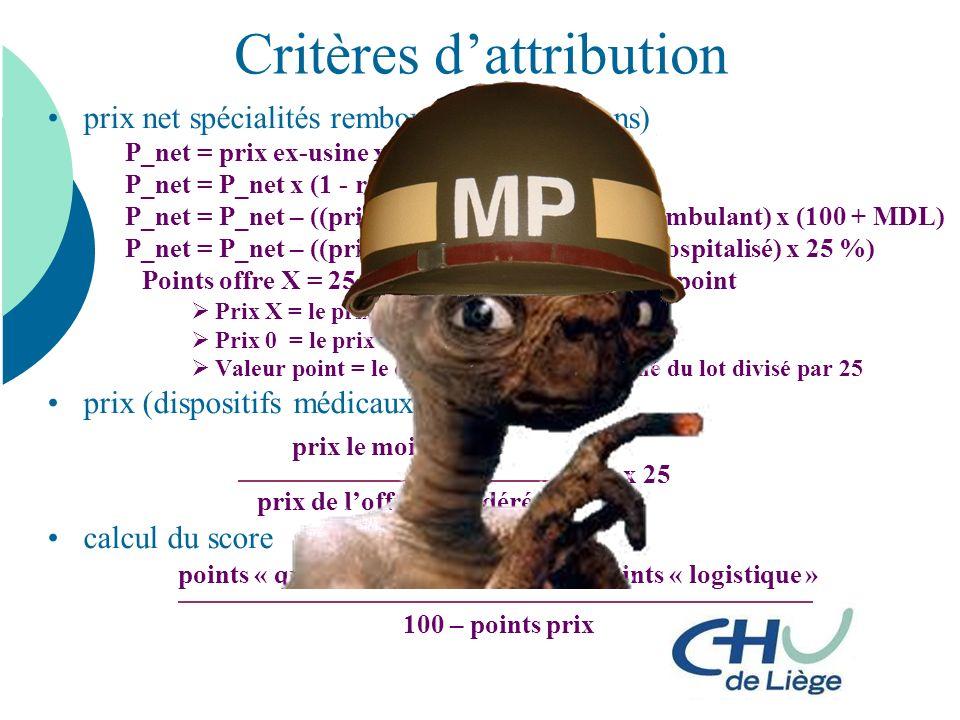 Critères dattribution prix net spécialités remboursées (perfusions) P_net = prix ex-usine x (1 + taux tva) P_net = P_net x (1 - remise en %) P_net = P