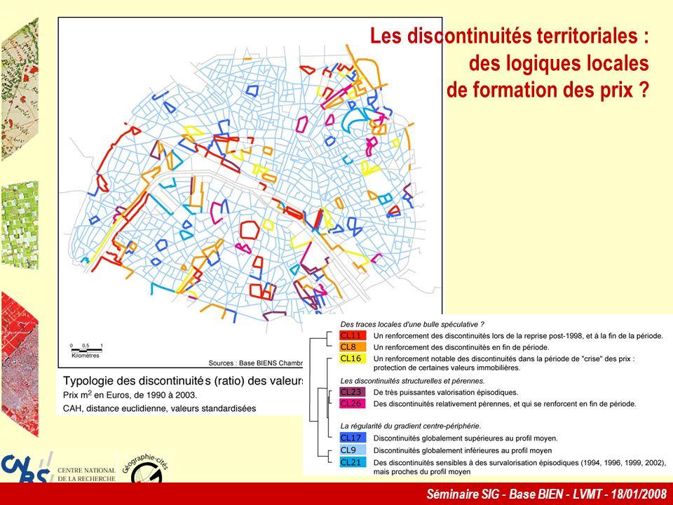 Séminaire SIG - Base BIEN - LVMT - 18/01/2008 Les discontinuités territoriales : des logiques locales de formation des prix ?