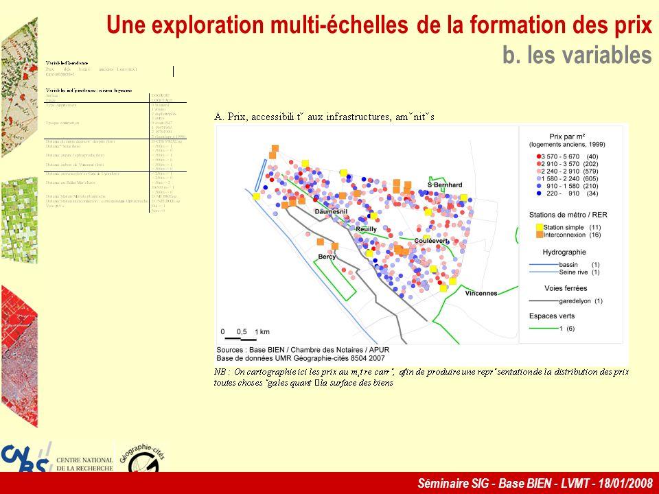 Séminaire SIG - Base BIEN - LVMT - 18/01/2008 Une exploration multi-échelles de la formation des prix b.