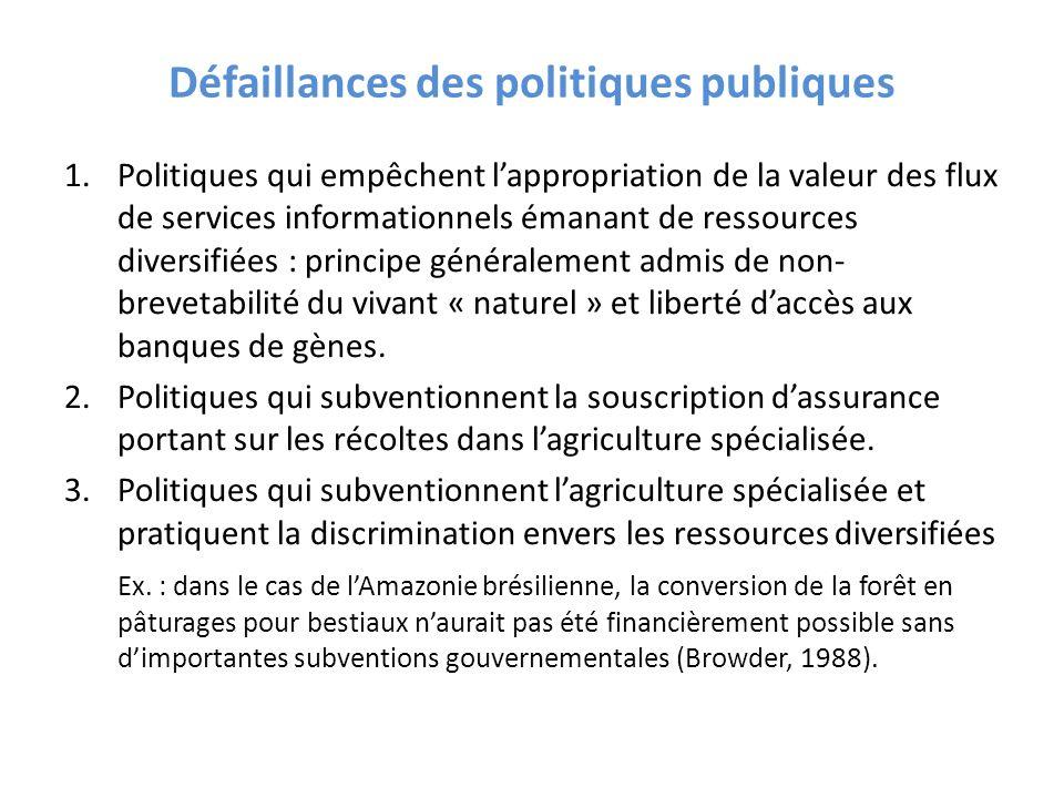 Défaillances des politiques publiques 1.Politiques qui empêchent lappropriation de la valeur des flux de services informationnels émanant de ressource