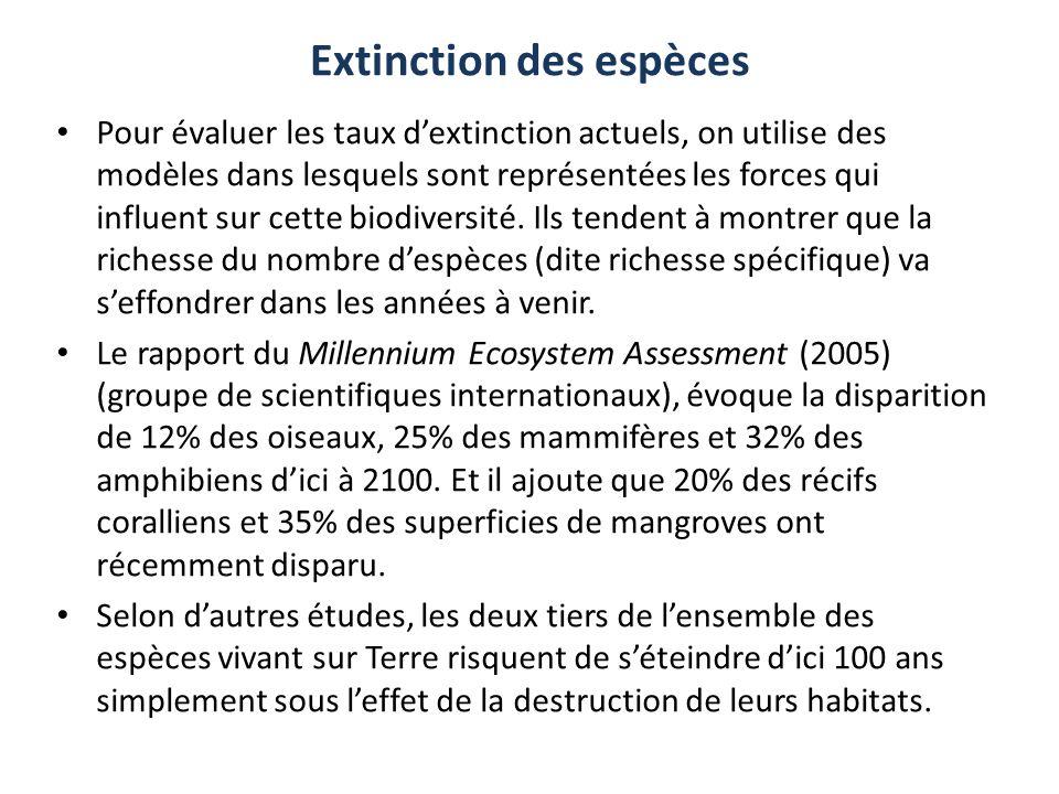 Extinction des espèces Pour évaluer les taux dextinction actuels, on utilise des modèles dans lesquels sont représentées les forces qui influent sur c