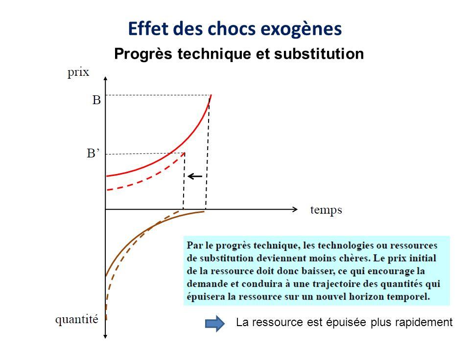 Effet des chocs exogènes La ressource est épuisée plus rapidement Progrès technique et substitution
