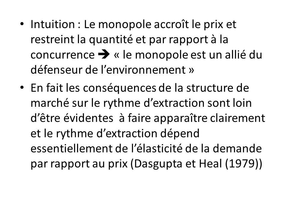 Intuition : Le monopole accroît le prix et restreint la quantité et par rapport à la concurrence « le monopole est un allié du défenseur de lenvironne