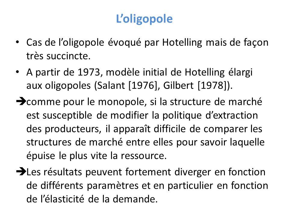 Loligopole Cas de loligopole évoqué par Hotelling mais de façon très succincte. A partir de 1973, modèle initial de Hotelling élargi aux oligopoles (S
