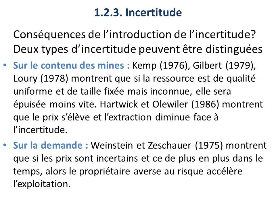 1.2.3. Incertitude Conséquences de lintroduction de lincertitude? Deux types dincertitude peuvent être distinguées Sur le contenu des mines : Kemp (19