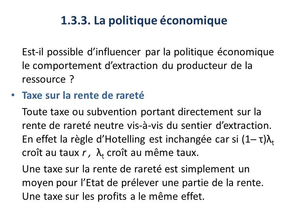 1.3.3. La politique économique Est-il possible dinfluencer par la politique économique le comportement dextraction du producteur de la ressource ? Tax